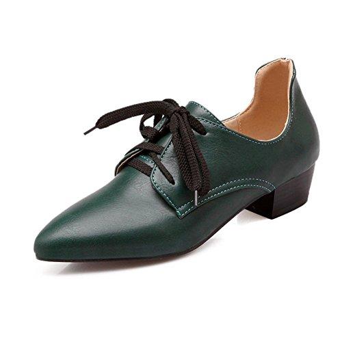 Alto Color Mujer Zapatos Zapatos Tacón Green Individuales Cuero de Estrecha Punta Gran de Encaje Tamaño de de Sólido de de de rqXxUXE