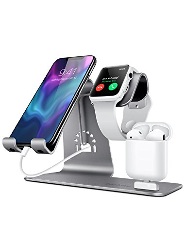 Charging Case Ipad (Bestand 3 in 1 Apple iWatch Stand, Airpods Charger Dock, Phone Desktop Tablet Holder for Airpods, Apple Watch/ iPhone X/8 Plus/8/ 7 Plus/ iPad, Grey(Patenting, Airpods Charging Case NOT Included))