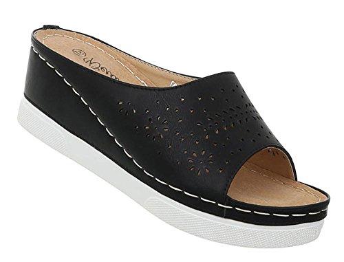 Damen Schuhe Sandaletten Keil Wedges Plateau Pantoletten