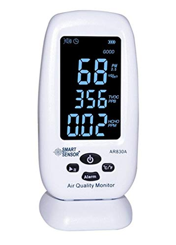 Price comparison product image Desktop Air Quality Meter LCD Display Rechargeable Li-Battery Powered Digital Wallmount 6 in 1 PM2.5 HCHO TVOC Temperature Humidity AQI Monitor Tester