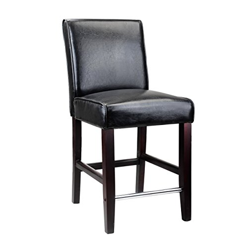 CorLiving DAD-504-B Antonio Counter Height Barstool in Black Bonded Leather, 25-Inch