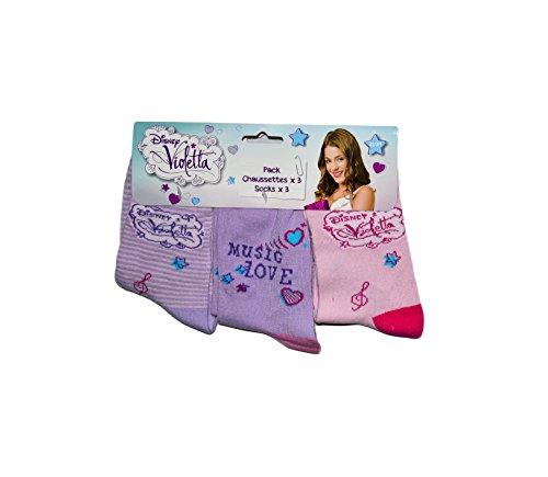 Disney Violetta 3er Pack Kinder Socken Set (4929) Bequeme Strümpfe für Jungen und Mädchen aus Baumwolle mit Disney Violetta Motiven, Pack#1, Gr. 27/30