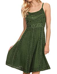 Sakkas Markay Short Mid Length Spaghetti Strap Sleeveless Embroidered Batik Dress
