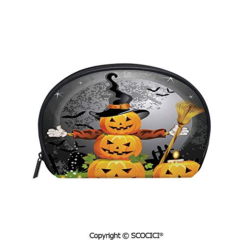 SCOCICI Durable Printed Makeup Bag Storage Bag Cute Pumpkins Funny Composition Traditional Celebration Witches Hat Broomstick for Women Girl Student -