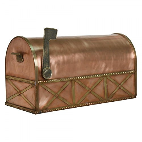 Naiture Oversized Country Post Mount Copper Mailbox with Brass Accents
