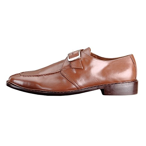 Handmade Damen Frost Alonti Mens Leather Dress Shoes with Single-buckle Strap Brown DIiIzqTEE