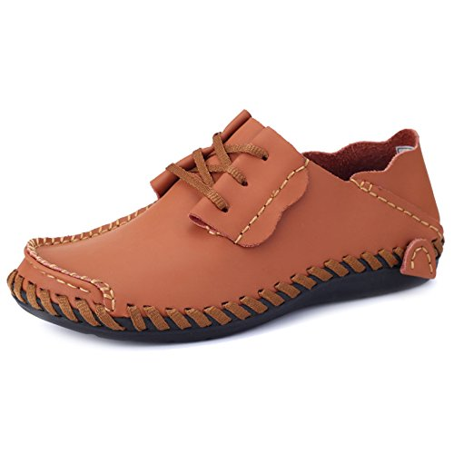 Slip Boat Large Brown MERRYHE Shoe Ups Shoes Boat Mocassini Yachting On Leather Flats Driving Deck Classic Mens Lace Size RRrUqa1W7