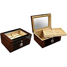 Prestige Import Group - Berkeley II Two-Tone Glass Top Humidor - Color: Mahogany & Black Lacquer by Prestige Import Group