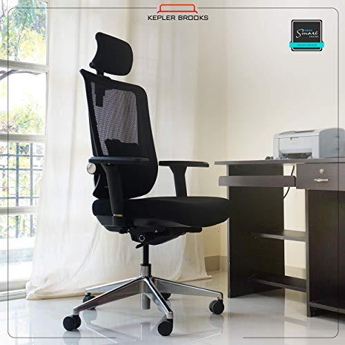 Kepler Brooks Fortius Mesh High Back Adjustable, Ergonomic & Reclining Office/Desk Chair (Black)