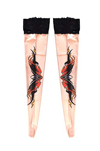 Women's Fake Tattoo Hold Ups Stockings Tribal In Flames Design (TS12)