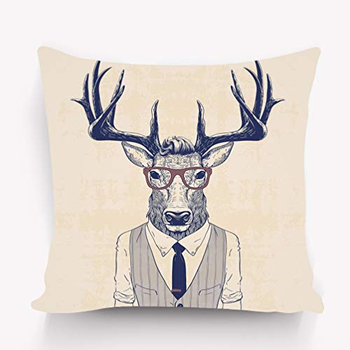 YILINGER Throw Lumbar Pillow Case Cushion Cover Decorative Cotton Blend Linen Pillowcase for Sofa Rectangle 18X18 Business Deer Dressed up Like Man Vest tie Lovely -