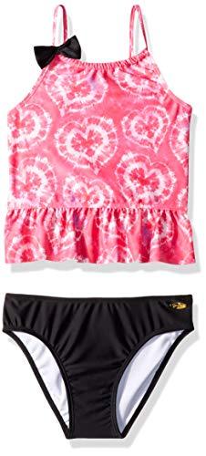 2 Tankini Piece Toddler Girls (Jessica Simpson Toddler Girls' Two-Piece Tankini Swimsuit Set, Fuchsia Tiedye, 3T)
