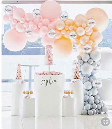 PartyWoo Blush Pink Gray Balloons 50 pcs Blush Pink Balloon Pack Peach and Gray Balloons for Party, Chrome Balloons Silver for Pink and Gray Wedding, Pink and Silver Bday Decor, Girls Baby Shower]()