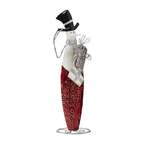 Deco Flair Pop of Red Snowman Mixed Metal Figurine