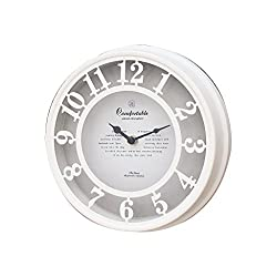 Time Concept Old Street Wall Clock - White - Analog, Decorative, Battery-Operated