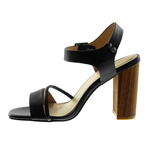 Angkorly Damen Schuhe Sandalen Pumpe - Knöchelriemen - Multi-Zaum - Schlangenhaut - Wooden Blockabsatz High Heel 10.5 cm Schwarz