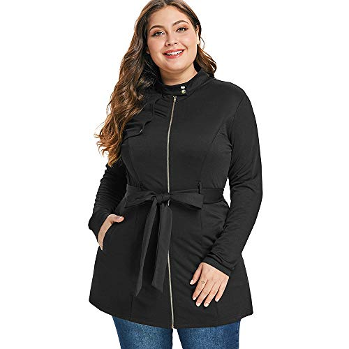 KCatsy Plus Size Stand Collar Zip Fly Slim Belted Tunic Coat for $<!--$29.99-->