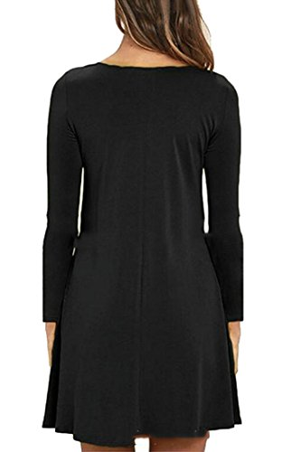 Black Womens Cromoncent Neck Casual Sleeve Round Loose Long Swing Top Shirt Party T Dress Zxqwfp