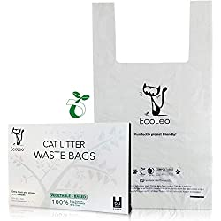EcoLeo Cat Litter Waste Bags - X-Large, Certified Compostable, Biodegradable, Thick, Leak Proof, Pet/Dog Poop Bags with Easy-Tie Handles,15 x 17.7 inch