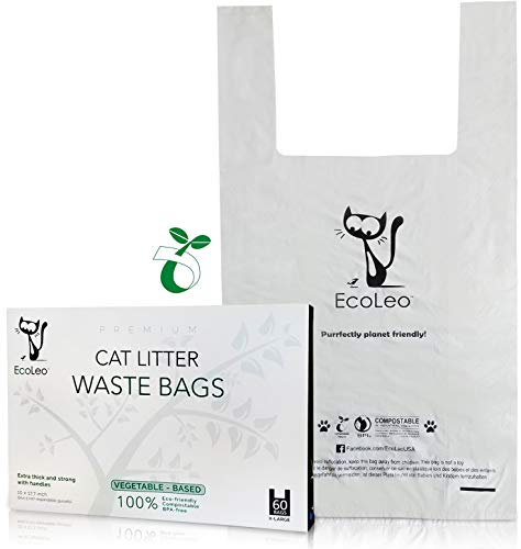 EcoLeo - Cat Litter Waste Bags - New Larger Size, X-Large, Certified Compostable, Biodegradable, Thick, Leak Proof, Pet/Dog Poop Bags with Easy-Tie Handles,10.5 x 18.5 inch, 60 Count