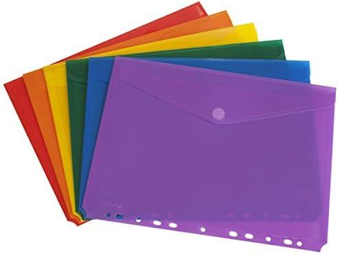 Grafoplás 04871099 - Surtido de sobres de plastico A4 para archivar - 6 unidades de colores variados