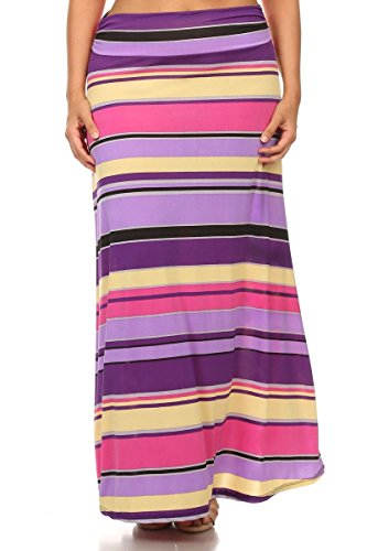PB COUTURE Plus-Size Women's Striped Maxi Skirt 3X (22/24) Purple/Yellow Multi