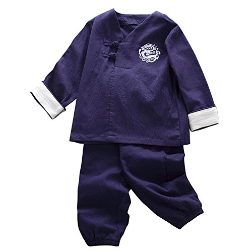 JIANLANPTT Kids Cute Chinese Style Dragon Pattern Kung Fu Outfits Tang Suit For Boys Girls Style 1 Navy Blue - Kung Chinese Clothes Fu Pants