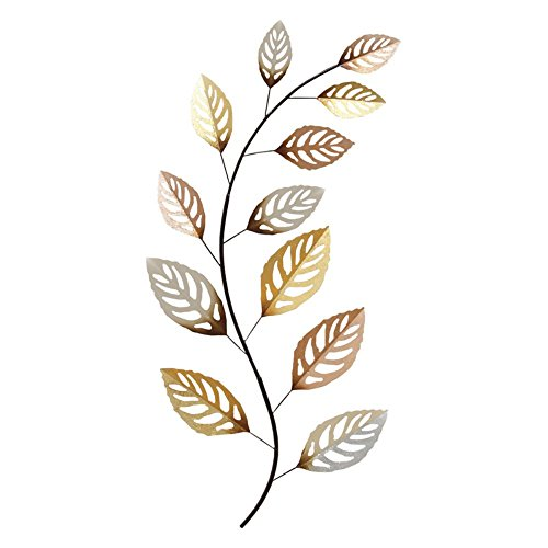 Stratton Home Decor S01752 Metallic Leaf Wall Decor, Large,