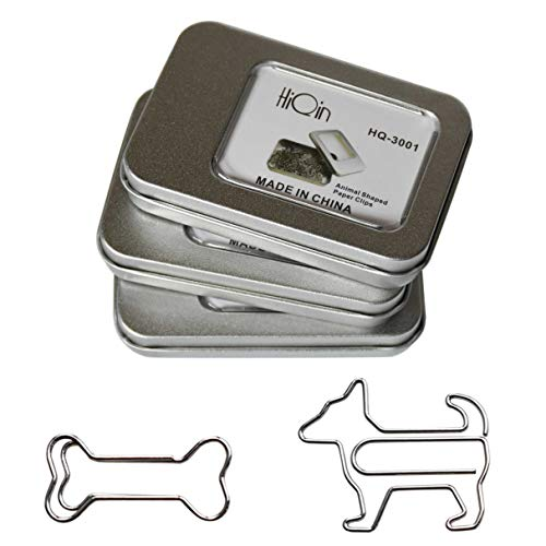 Bone Shaped Paper Clips - HiQin Paper Clips Dog Loves Bone Bookmark Clips (3 Boxes) - Cute Office Supplies Gift Birthday Gifts Dog Lovers