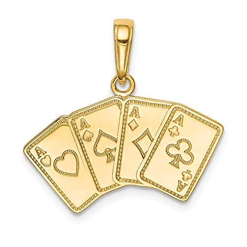14k Yellow Gold Aces Playing Cards Pendant Charm Necklace Gambling Fine Jewelry Gifts For Women For Her
