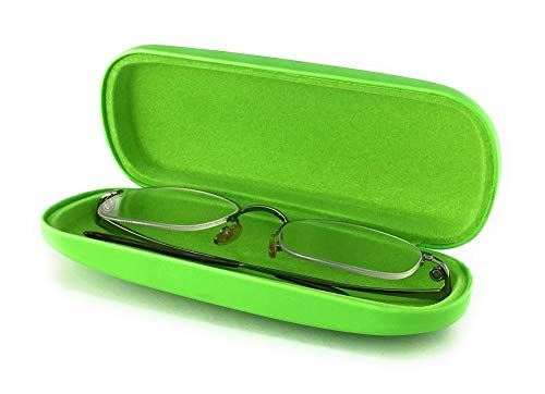 Hard Eyeglass Case for Reading Glasses Spectacles and Small Sunglasses. Sturdy Pocket Size Cases. (Mint - Reader Case Eyeglass