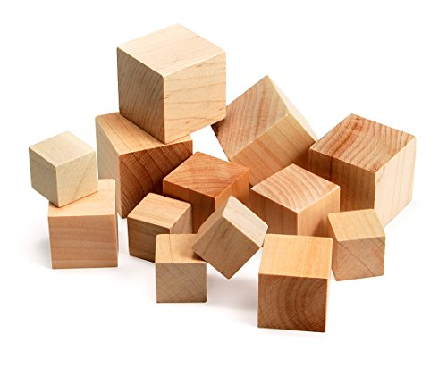 Hygloss Products Unfinished Wood Blocks - Blank Wooden Building Block Cubes – Assorted Sizes, 48 Pack (Wood Craft Assorted)