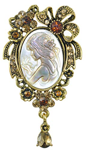 (Gyn&Joy Vintage Topaz Color Crystal Rhinestone Victorian Lady Maiden Flower Ribbon Bow Shell Cameo Brooch Pin)