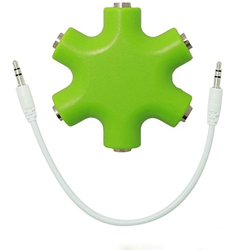 Daker Headphone Splitter 3.5mm,1 to 5 Stereo Audio Adapter Converter for iPhone 7 7 Plus 5 5S 6 6Plus iPad iPod Touch Mp3 Mp4 Players Samsung HTC Blackberry LG Huawei Xiaomi (Green)