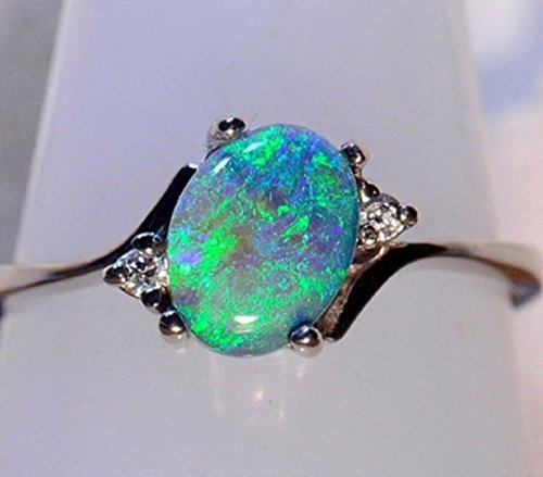 YABINA Zircon White Fire Opal Ring Jewelry Silver Color Wedding Rings for Women (6, Green) (Design Opal Ring)