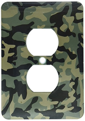 3dRose lsp_157596_6 Dark Green Camo Print Hunting Hunter Or Army Soldier Uniform Style Camouflage Woodland Pattern Light Switch - Dimension Wall Camo Clock