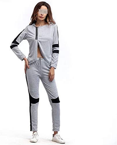 レディースジャージ上下セット 女性の長袖のフード付きストレッチジムヨガランニング迷彩スーツスポーツウェア (サイズ : L)
