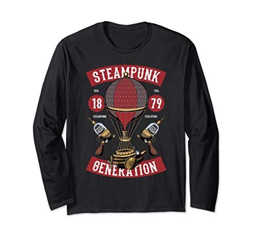 Steampunk Fair Hot Air Balloon Ride Space Fantasy Long Sleeve T-Shirt
