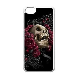 Custom Colorful Case for Iphone 5C, Skulls & Rose Cover Case - HL-526874
