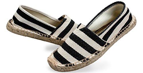 Ace Shock Loafer Flats Heren Slip-on, Stro Gevlochten Casual Mocassins Rijden Canvas Schoenen Strepen Zwart