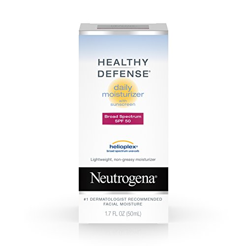 Neutrogena Healthy Defense Daily Moisturizer with Broad Spectrum SPF 50 Sunscreen, Vitamin E & Anti-Oxidants, Lightweight, Non-Greasy & Hypoallergenic, 1.7 fl. oz