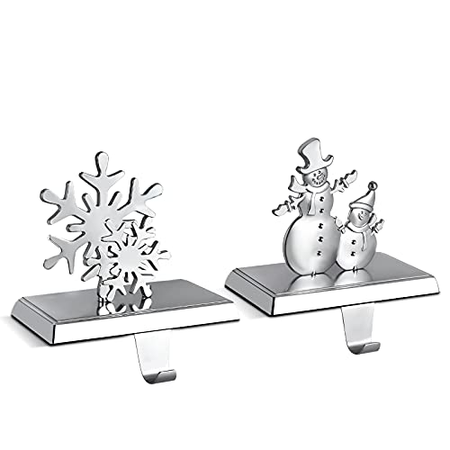 Christmas Stocking Holders - Set of 2 Assorted Styles,Snowflake Stocking Holder and Snowman Xmas Stocking Hanger for Fireplace Mantle as The Essential Christmas Decor( Metal Silvery)
