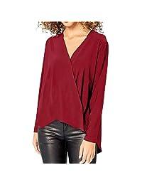 kingf Womens Chiffon Wrap Top Solid T-Shirt Office V-Neck Long Sleeve Blouse