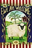 """Ewe Are Welcome House Flag Primitive Country Sunflower 28"""" x 40"""""""