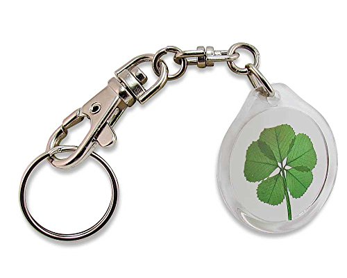 Acrylic Charm Trigger Snap Keychain with with Real Genuine 5 Leaf Clover - 5j Ring