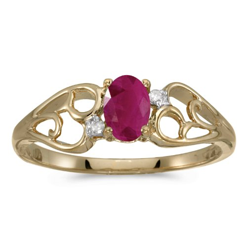 0.38 Carat ctw 14k Gold Oval Red Ruby & Diamond Heart Shape Swirl Filigree Fashion Promise Ring