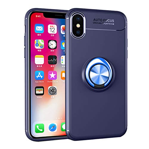 ANERNAI iPhone XS Max XS Plus (2018) 6.5 Inch Case, Ultra Thin Shockproof TPU Ring Kickstand Magnetic Car Mount Cover,Blue