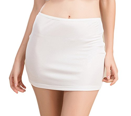 (Women's Pure Silk Knitted Smooth and Cool Half Slip White S)