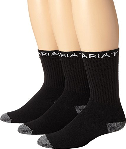 Ariat Men's Workboot 3 Pack Socks,Black,XL