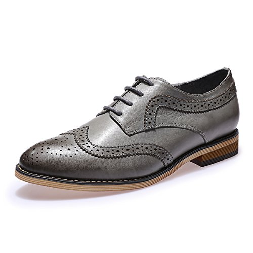 (Mona flying Womens Leather Perforated Lace-up Saddle Oxfords Brogue Wingtip Derby Shoes)